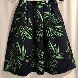 Satin Pleated A-Line Full Burst Career Skirt